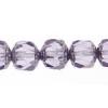 Fire polished Lanterns 8mm Violet Silver Coated Ends